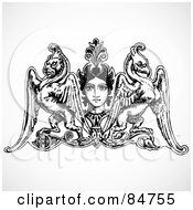 Royalty Free RF Clipart Illustration Of A Design Element Of A Womans Face With A Winged Lion And Phoenix by BestVector