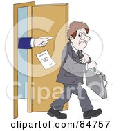 Royalty Free RF Clipart Illustration Of A Sad Unemployed Businessman Being Kicked Out Of An Office