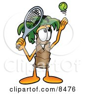 Clipart Picture Of A Palm Tree Mascot Cartoon Character Preparing To Hit A Tennis Ball by Toons4Biz