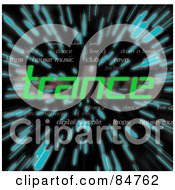 Royalty Free RF Clipart Illustration Of The Green Word Trance Over Zooming Blue Lines In Hyperspace On Black
