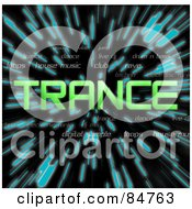 Royalty Free RF Clipart Illustration Of A Green Word Trance Over Zooming Blue Lines In Hyperspace On Black