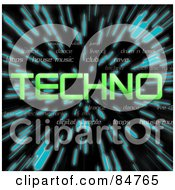 Royalty Free RF Clipart Illustration Of A Green Word Techno Over Zooming Blue Lines In Hyperspace On Black
