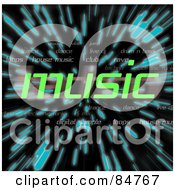 Royalty Free RF Clipart Illustration Of The Green Word Music Over Zooming Blue Lines In Hyperspace On Black