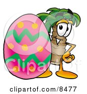 Clipart Picture Of A Palm Tree Mascot Cartoon Character Standing Beside An Easter Egg by Toons4Biz