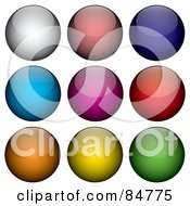 Royalty Free RF Clipart Illustration Of A Digital Collage Of Nine Shiny Colorful Round App Buttons by Arena Creative