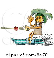 Clipart Picture Of A Palm Tree Mascot Cartoon Character Waving While Water Skiing by Toons4Biz