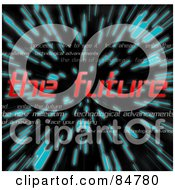 Royalty Free RF Clipart Illustration Of The Red Words The Future Over Zooming Blue Lines In Hyperspace On Black