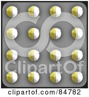 Royalty Free RF Clipart Illustration Of A Blister Package Of Yellow And White Pills