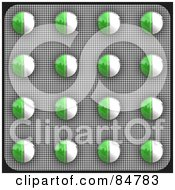 Royalty Free RF Clipart Illustration Of A Blister Package Of Green And White Pills