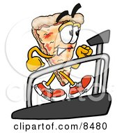 Clipart Picture Of A Slice Of Pizza Mascot Cartoon Character Walking On A Treadmill In A Fitness Gym by Toons4Biz
