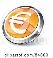 Shiny Orange Euro App Button With A Chrome Rim