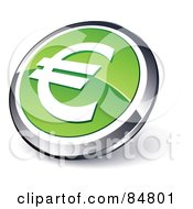 Shiny Green Euro App Button With A Chrome Rim