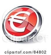 Shiny Red Euro App Button With A Chrome Rim