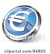 Shiny Blue Euro App Button With A Chrome Rim