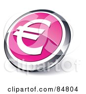 Shiny Pink Euro App Button With A Chrome Rim