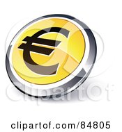 Shiny Yellow Euro App Button With A Chrome Rim