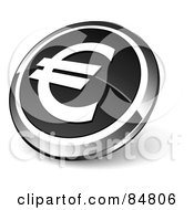 Shiny Black Euro App Button With A Chrome Rim