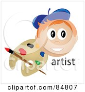 Royalty Free RF Clipart Illustration Of A Friendly Red Haired Male Artist Face With A Paintbrush And Palette by Pams Clipart