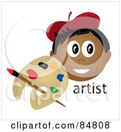 Royalty Free RF Clipart Illustration Of A Friendly Indian Male Artist Face With A Paintbrush And Palette