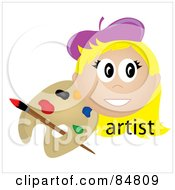 Royalty Free RF Clipart Illustration Of A Friendly Blond Female Artist Face With A Paintbrush And Palette by Pams Clipart