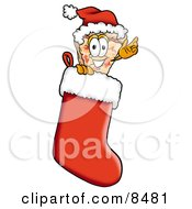 Slice Of Pizza Mascot Cartoon Character Wearing A Santa Hat Inside A Red Christmas Stocking