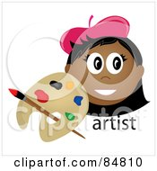 Royalty Free RF Clipart Illustration Of A Friendly Indian Female Artist Face With A Paintbrush And Palette by Pams Clipart