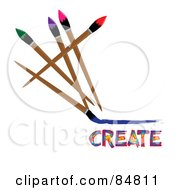 Royalty Free RF Clipart Illustration Of Colorful Paintbrushes Over Create by Pams Clipart