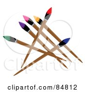 Royalty Free RF Clipart Illustration Of A Group Of Artist Paintbrushes With Colorful Tips by Pams Clipart