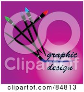 Royalty Free RF Clipart Illustration Of Paintbrushes Writing Graphic Design On Pink by Pams Clipart
