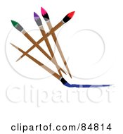 Royalty Free RF Clipart Illustration Of Five Colorful Paintbrushes A Blue One Painting A Line by Pams Clipart