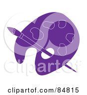 Royalty Free RF Clipart Illustration Of A Purple Artist Palette With A Paintbrush by Pams Clipart