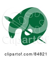Royalty Free RF Clipart Illustration Of A Green Artist Palette With A Paintbrush by Pams Clipart