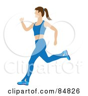 Fit And Healthy Caucasian Woman Running In A Blue Exercise Suit