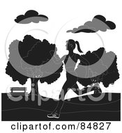 Royalty Free RF Clipart Illustration Of A Black And White Healthy Woman Jogging In A Park by Pams Clipart