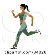 Royalty Free RF Clipart Illustration Of A Fit And Healthy Indian Woman Running In A Green Exercise Suit