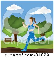 Royalty Free RF Clipart Illustration Of A Healthy Caucasian Woman Jogging In A Park by Pams Clipart