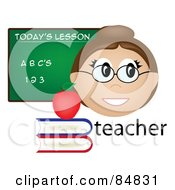 Royalty Free RF Clipart Illustration Of A Friendly Female Caucasian Teacher With The Word Books And Chalk Board