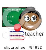 Royalty Free RF Clipart Illustration Of A Friendly Female Indian Teacher With The Word Books And Chalk Board by Pams Clipart