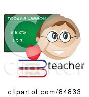 Royalty Free RF Clipart Illustration Of A Friendly Male Caucasian Teacher With The Word Books And Chalk Board by Pams Clipart