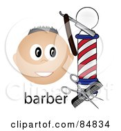 Royalty Free RF Clipart Illustration Of A Friendly Caucasian Barber Face By A Pole With Tools And The Word Barber