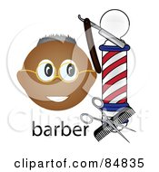 Royalty Free RF Clipart Illustration Of A Friendly Black Barber Face By A Pole With Tools And The Word Barber by Pams Clipart