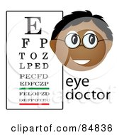 Royalty Free RF Clipart Illustration Of A Friendly Male Indian Eye Doctor With The Word And Eye Chart by Pams Clipart
