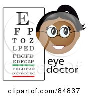 Royalty Free RF Clipart Illustration Of A Friendly Female Indian Eye Doctor With The Word And A Vision Chart by Pams Clipart