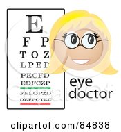 Royalty Free RF Clipart Illustration Of A Friendly Female Caucasian Eye Doctor With The Word And A Vision Chart by Pams Clipart
