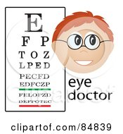 Royalty Free RF Clipart Illustration Of A Friendly Male Caucasian Eye Doctor With The Word And Eye Chart