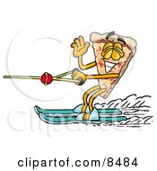 Clipart Picture Of A Slice Of Pizza Mascot Cartoon Character Waving While Water Skiing