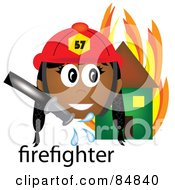 Royalty Free RF Clipart Illustration Of A Friendly Female Indian Firefighter With The Word By A Flaming House