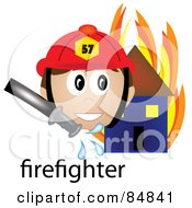 Royalty Free RF Clipart Illustration Of A Friendly Male Caucasian Firefighter With The Word By A Flaming House by Pams Clipart