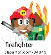 Royalty Free RF Clipart Illustration Of A Friendly Male Indian Firefighter With The Word By A Flaming House