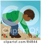 Royalty Free RF Clipart Illustration Of A Indian Boy On A Beach Bending Over To Pick Up A Shell